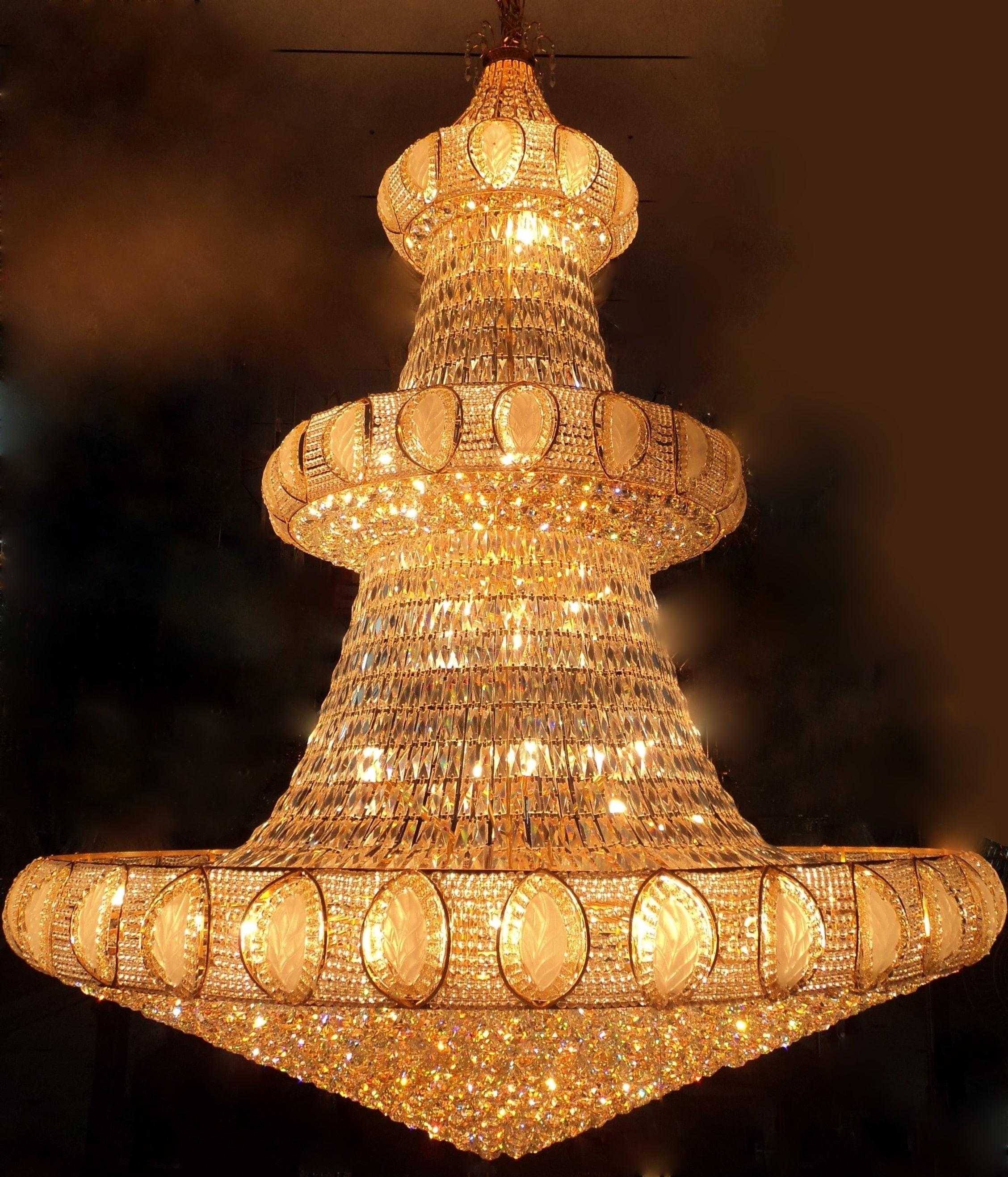 Crystal Chandelier Small Size: Large Crystal Golden Chandelier For Sale